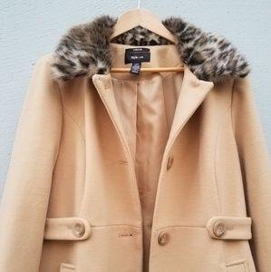 Style & Co. | Faux Leopard Fur Trim Pea Coat Tan